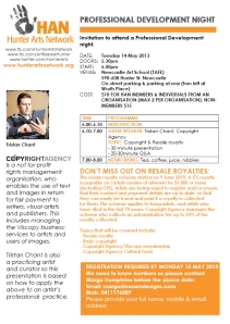 Invitation to Hunter Arts Network Professional Development Night Copyright Agency 14 May 2013