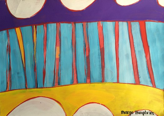 """""""Bunting"""" by Margo Humphries Original FOR SALE $30 - acrylic on card 30x21cm"""