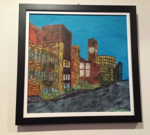 """In Town"" by Margo Humphries - Size 54x54cm. Framed $210. Acrylic & ink on board"