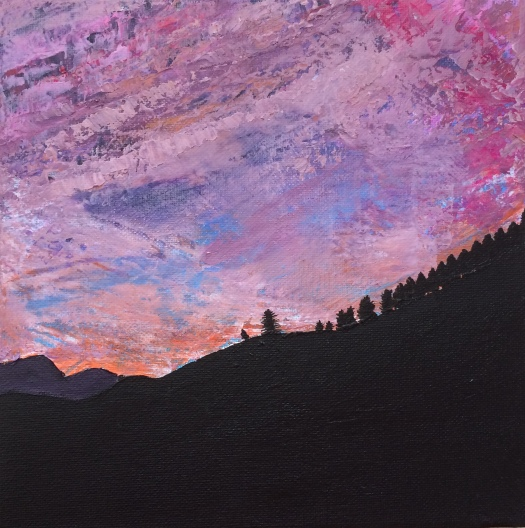 """Silhouette Mountain"" by Margo Humphries, 20cm x 20cm Original unavailable Acrylic on canvas 20108"