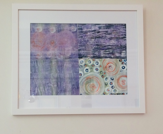 """Four Corners"" by Margo Humphries – FOR SALE FRAMED $220 – acrylic, ink & lumieres on paper, size 56x67m"