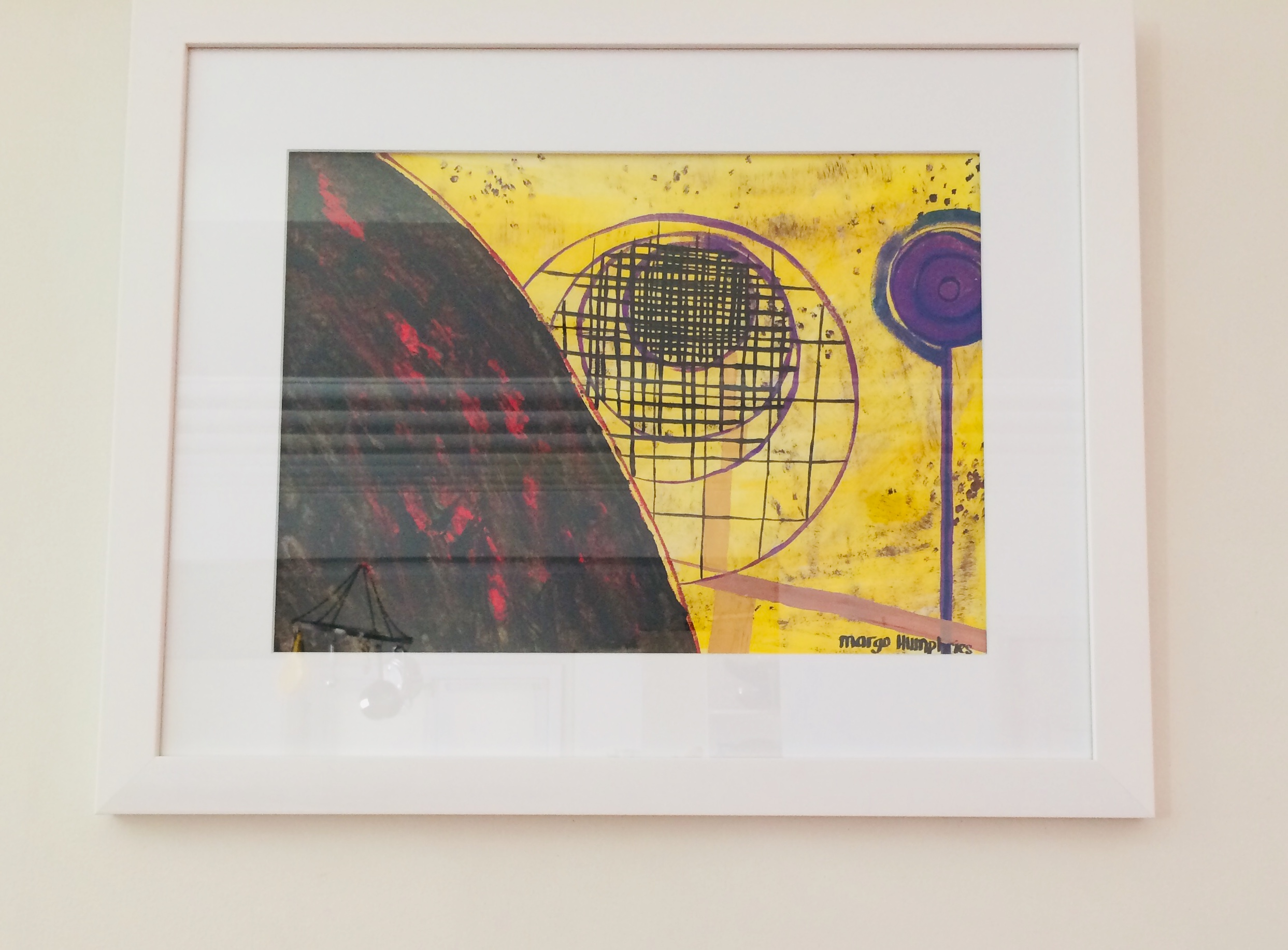 """The Droste Effect"" by Margo Humphries FRAMED Original FOR SALE $180.00 – acrylic and ink on paper 56x45cm"