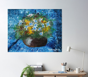 """🖌️🎨Original by Margo Humphries 🖼️""""Flowers in pot"""", 42x29cm, unframed, A$10.00 https://kasarndesigns.com/artwork-for-sale 🛒Prints available on Redbubble 🔆✨#margohumphriesart Disclaimer: Redbubble image shown, original not to scale"""