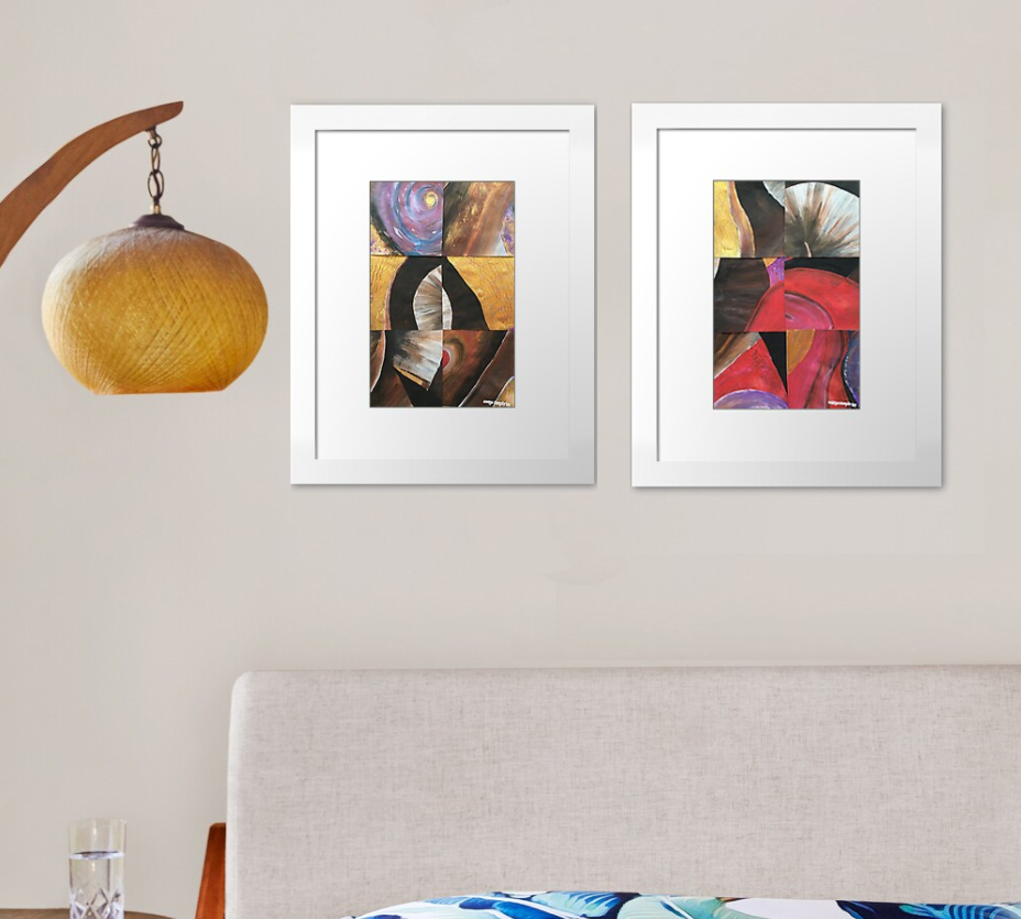 """🖌️🎨Original by Margo Humphries 🖼️""""Stark 1"""" and """"Stark 2"""", 52x74cm each, framed, A$210.00 each https://kasarndesigns.com/artwork-for-sale 🛒Prints available on Redbubble 🔆✨#margohumphriesart Disclaimer: Redbubble image shown, original not to scale"""
