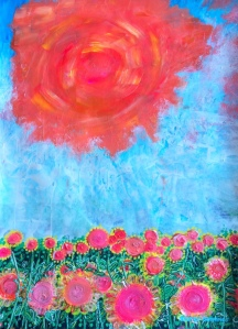 """""""Bright Sunshiny Day"""" original painting by Margo Humphries Painted during the Summer holidays but there haven't been many of these days this time so I decided to create one! Size 30x42cm A$120.00 for the unframed original Acrylic, ink, paint pens on paper 2021 Margo@kasarndesigns.com www.kasarndesigns.com #margohumphriesart"""